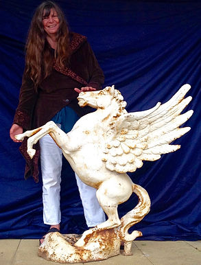 Rosie Temple with a Pegasus statue
