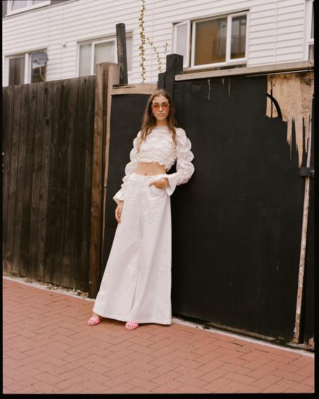 Shrunken shirt and wide leg trouser  Photography by Amy Lidgett
