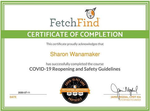 Covid-19 pet care protocols certificate.