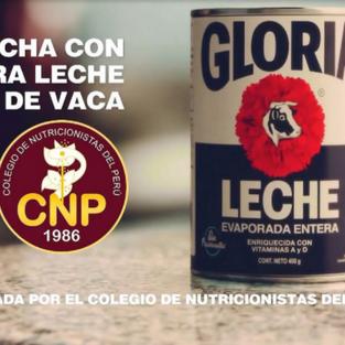 Gloria alquiló un aval al Colegio de Nutricionistas para promover su mezcla láctea como leche pura