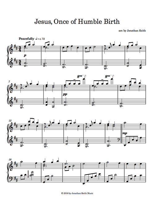 Jesus, Once of Humble Birth - Sheet Music Download