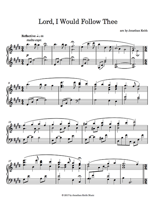 Lord, I Would Follow Thee - Sheet Music Download