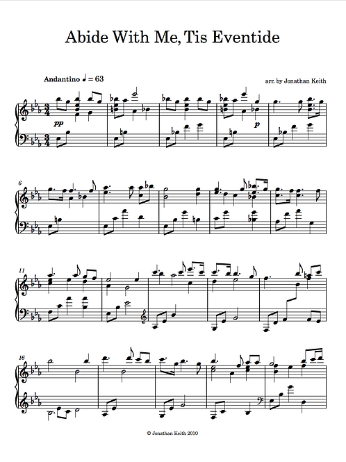 Abide With Me, Tis' Eventide - Sheet Music Download