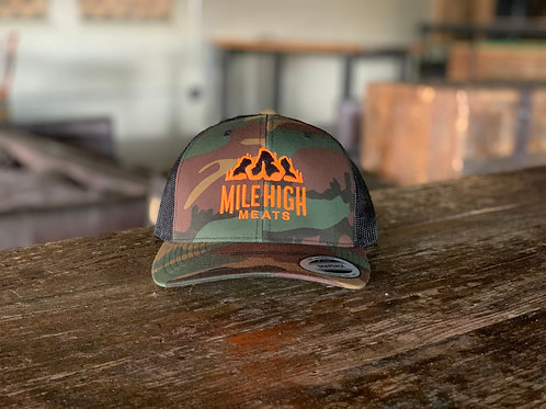 Mile High Meats Camo Blaze Orange Trucker Hat