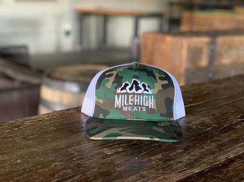 Mile High Meats White Camo Trucker Hat