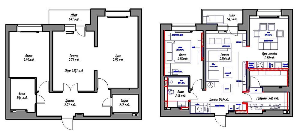 Планы квартиры до и после перепланировки