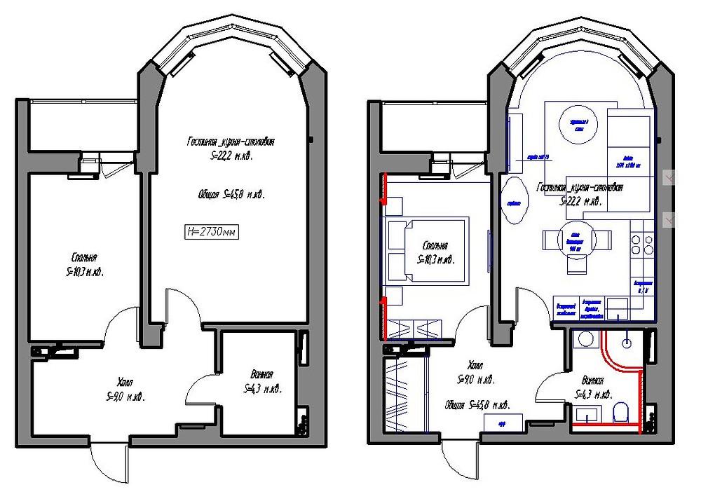 Обмерный план и план расстановки мебели