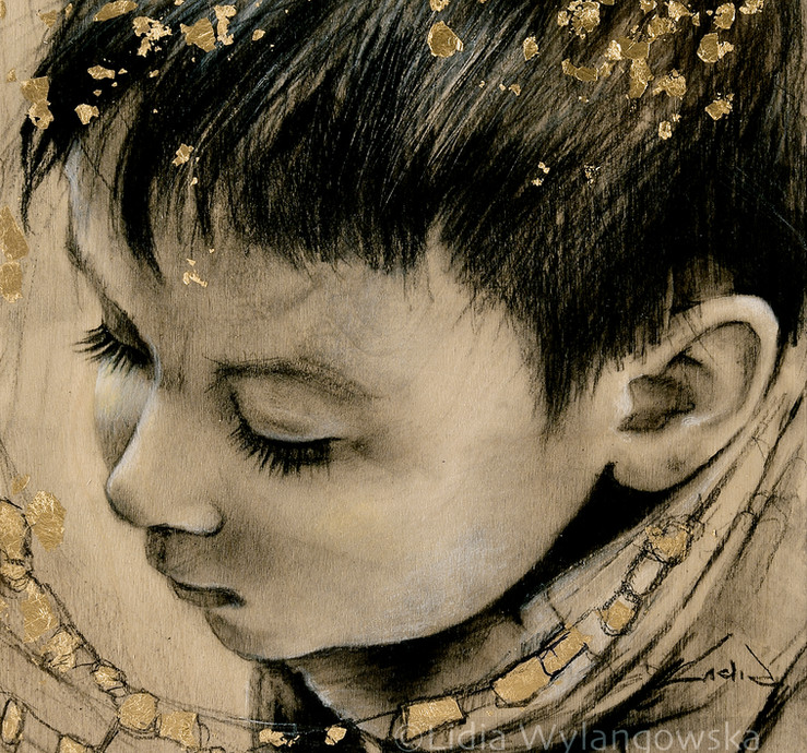 "#300  ""Karolek"" 2020 10""x10"" charcoal drawing, gold leaf"
