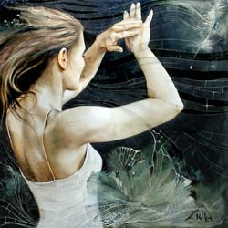 """#035 """"Prelude in E Minor""""36""""x36"""" (91.5cm x 91.5cm)oil on wood /"""