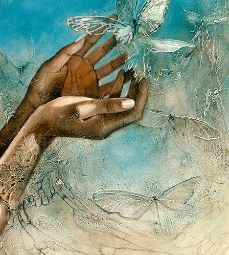 "#209/2 "" Handful of Heaven"" detail    giclée print on canvas"