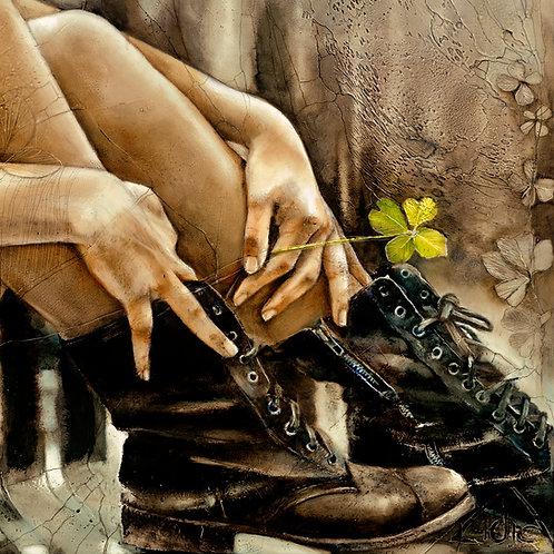 """#096 """"Four Leaf Clover""""   giclée print on canvas"""