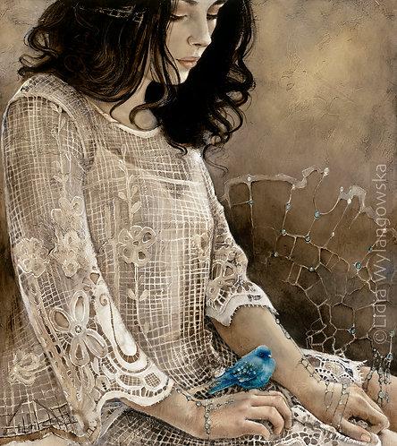 """#286 """"Little Blue Bird"""" original oil painting"""