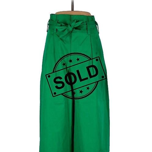High Waist Wide Pants Emerald Green ZARA