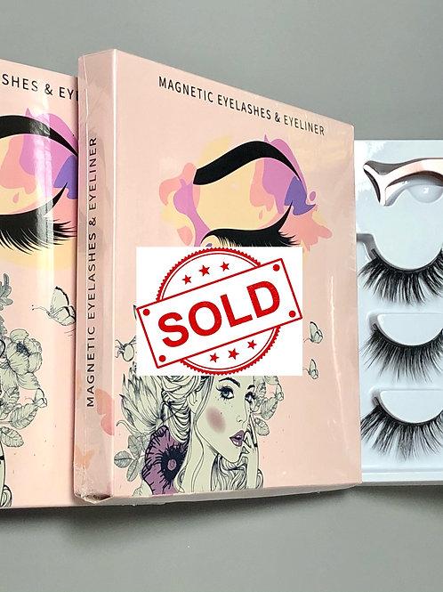 Vegan 5 Magnets Silk Fibre Magnetic Eyelashes, Magnetic Liner & Tweezer