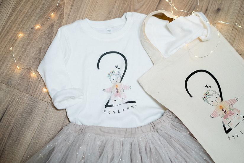 T-shirt ANNIVERSAIRE Enfant ou Bébé MC ou ML Blanc