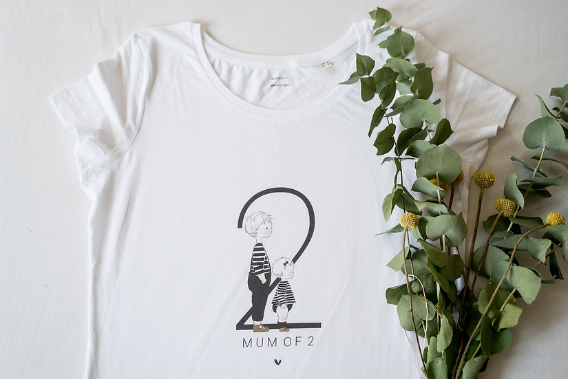 T-shirt MUM OF Femme MC Blanc (personnalisable)