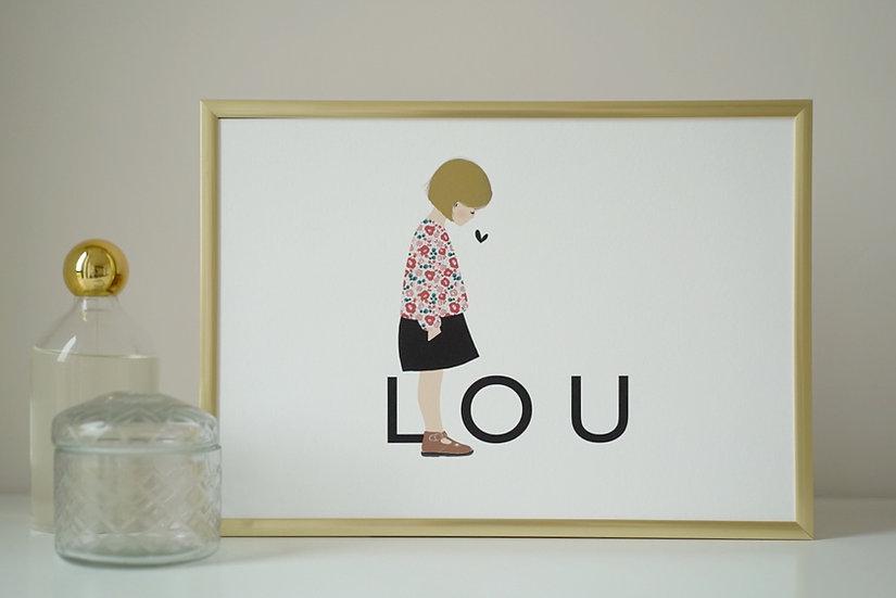 Affiche A4 PRENOM couleur Enfant ou bebe