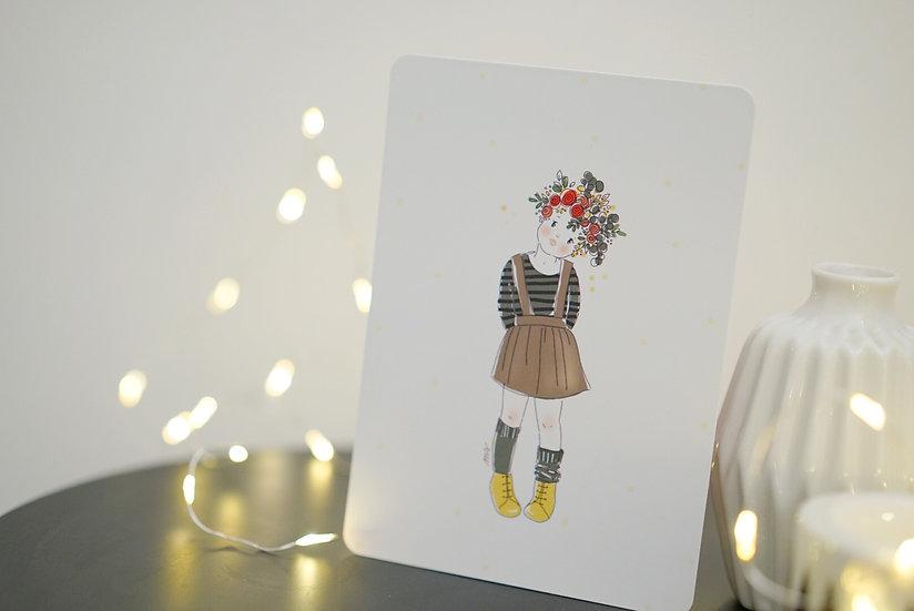 Carte postale fille en fleurs