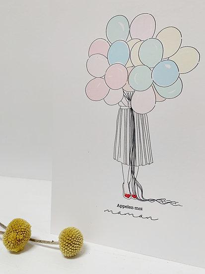 Carte Maman Ballon 10x15cm