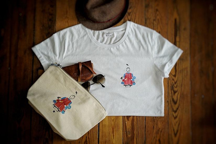 T-shirt HEROS Papa enfant(s) MC Blanc (personnalisable)