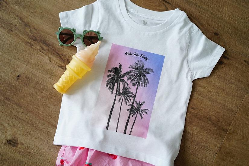 T-shirt bébé SUNSET PALMIER blanc