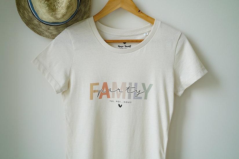 T-shirt femme FAMILY PARTY naturel