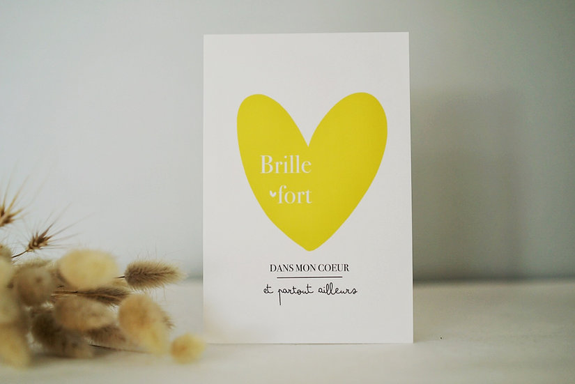 Carte DANS MON COEUR jaune