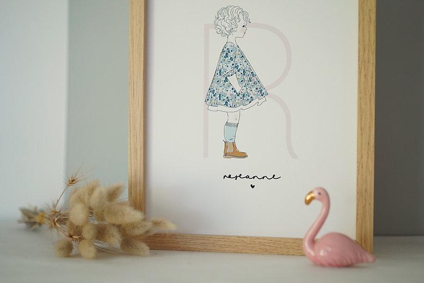 Affiche silhouette INITIALE fille