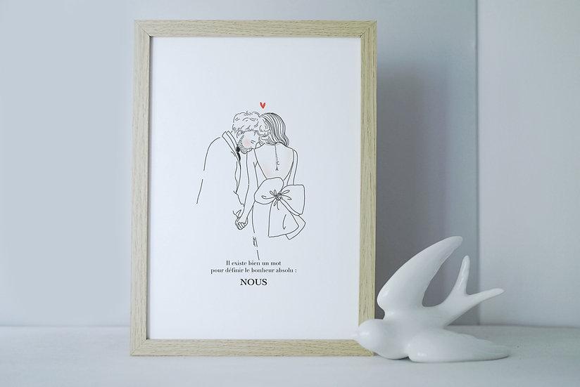 Affiche A4 ou A5 BAISER EPAULE mariés