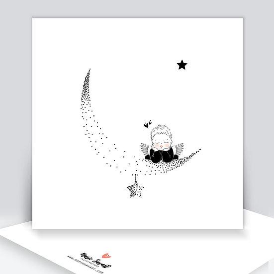 Carte ANGEL bébé lune ou bébé étoile