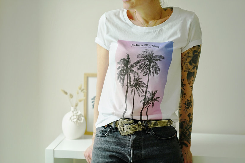 T-shirt Femme SUNSET PAPALMIER blanc