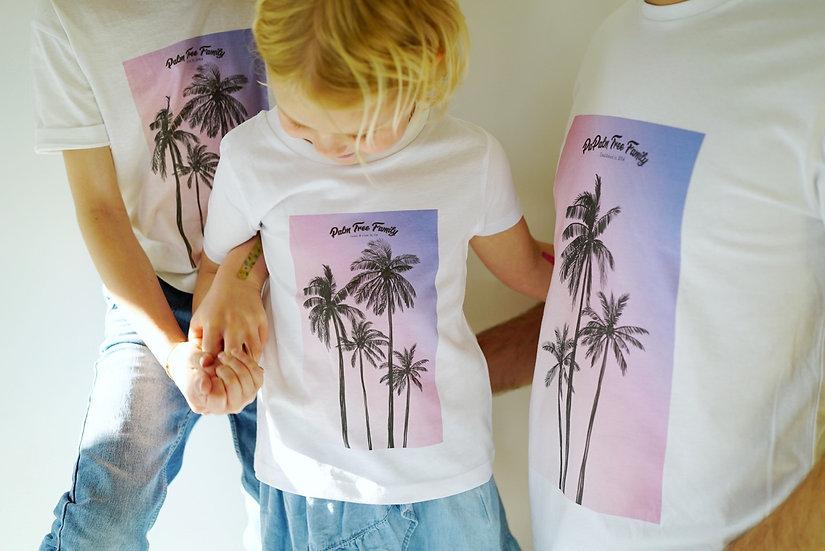 T-shirt Enfant SUNSET PALMIER blanc
