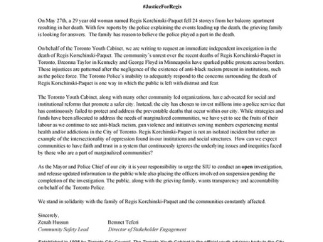 TYC Open Letter to Mayor John Tory and Toronto Police Chief Mark Saunders