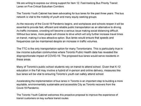TYC Letter to TTC Board Re: Bus Priority Transit Lanes