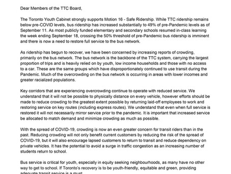 TYC Letter to TTC Board on Safe Ridership