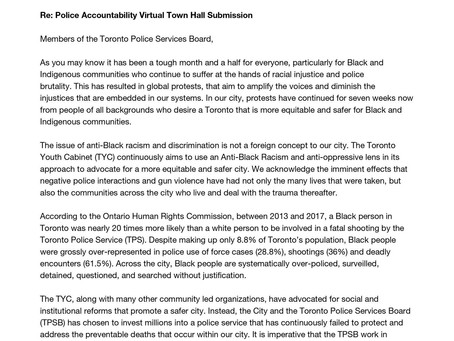 TYC Letter to the TPSB for Police Town Hall