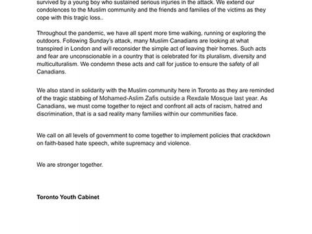 TYC Statement on the Terrorist Attack in London, Ontario