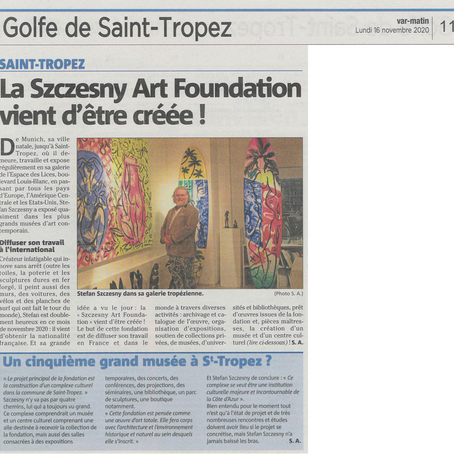 "Création du fonds de dotation ""Szczesny Art Foundation - Saint-Tropez"""