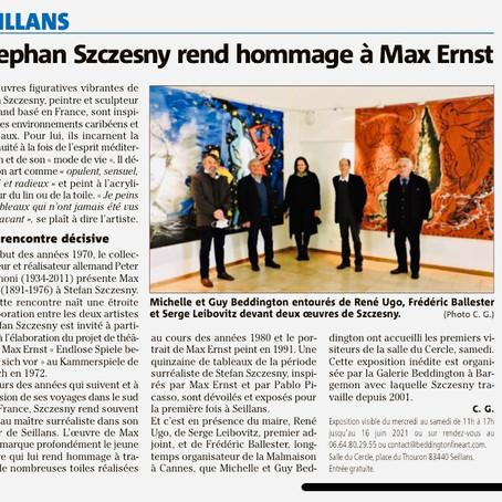 """Article paru dans """"Var-Matin"""" consacré à l'exposition de Stefan Szczesny à Seillans"""