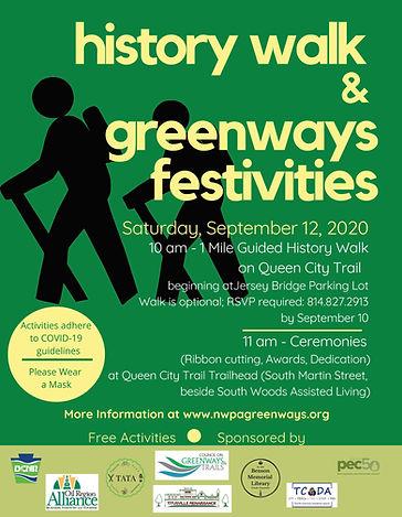 Greenways 9-12-20 Poster; History Walk a
