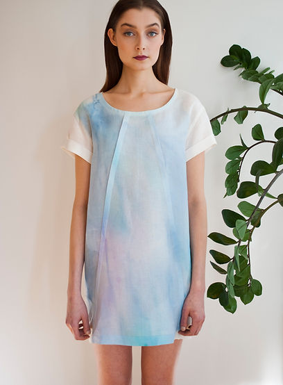 Linen dress, hand painted
