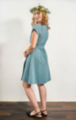 Laakso dress, ramie, blue