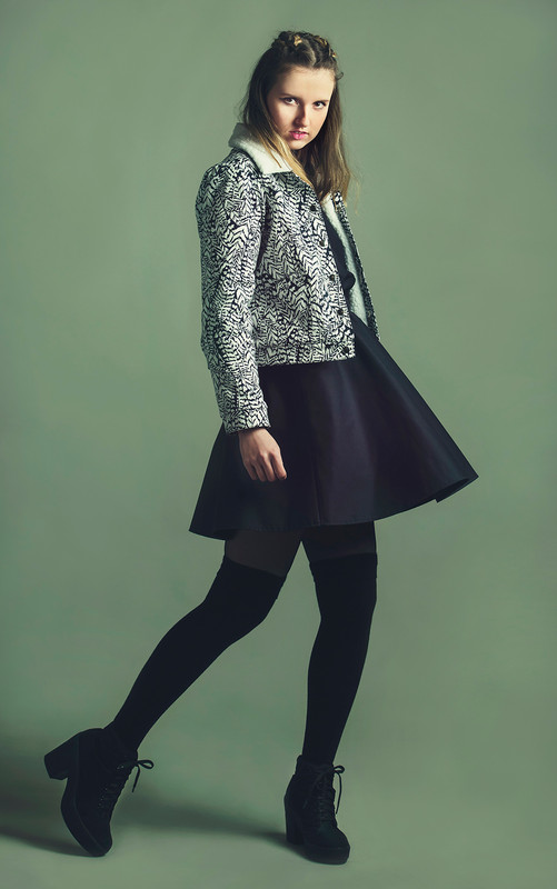 Feather print jacket and a pinafore