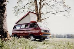 Mein Bulli Camper Verleih Allgäu Rudi in der Natur