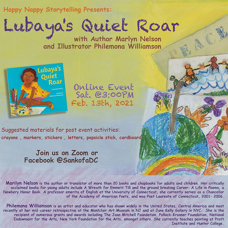Happy Nappy Storytelling Presents: Lubaya's Quiet Roar with Author Marlyn Nelson and Illustrator Philemona Williamson