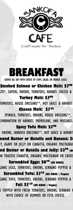 Sankofa Cafe Breakfast Menu