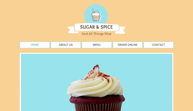 Restaurants en eten website templates – Cupcake-winkel