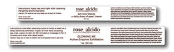 Rose Alcido product labels