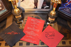 Movie-themed wedding menu & napkins