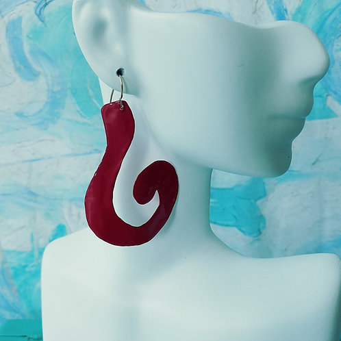 Red Hammered Jammered Earrings
